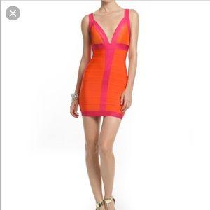 Herve Leger Orange and Pink Dress Size XS